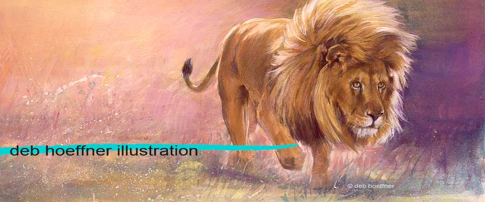 realistic illustration deb hoeffner illustration lion painting