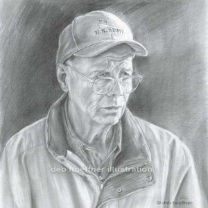 portrait of a veteran pencil drawing