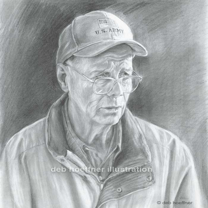 portrait of a veteran pencil drawing