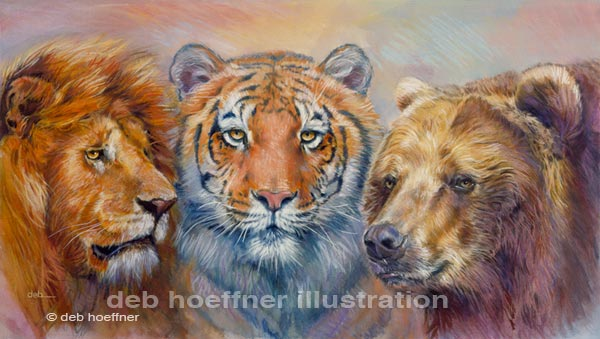 lions and tigers and bears art